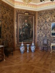 Schloß Moritzburg - Die Wände wurden mit einer Ledertapete bezogen